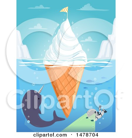Clipart of a Floating Ice Cream Cone Iceburg with a Narwhal and Diver - Royalty Free Vector Illustration by BNP Design Studio
