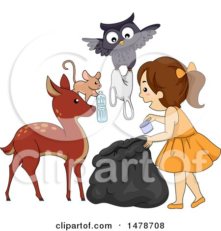 Clipart of a Group of Forest Animals Helping a Girl Pick up Garbage - Royalty Free Vector Illustration by BNP Design Studio