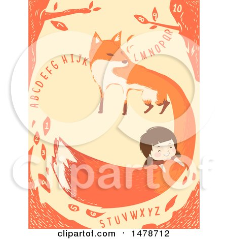 Clipart of a Girl on a Fox Tail, with Alphabet Letters - Royalty Free Vector Illustration by BNP Design Studio