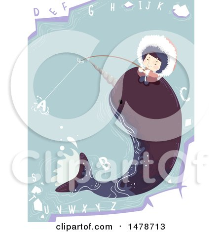 Clipart of a Girl Eskimo Fishing and Riding a Narwhal - Royalty Free Vector Illustration by BNP Design Studio