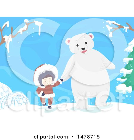Clipart of a Girl Eskimo Holding Hands and Walking with a Polar Bear - Royalty Free Vector Illustration by BNP Design Studio