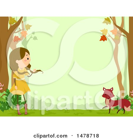 Clipart of a Border of a Girl and Fox in the Woods - Royalty Free Vector Illustration by BNP Design Studio