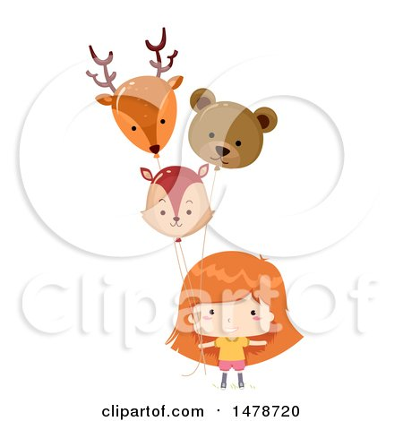 Clipart of a Girl with Animal Balloons - Royalty Free Vector Illustration by BNP Design Studio