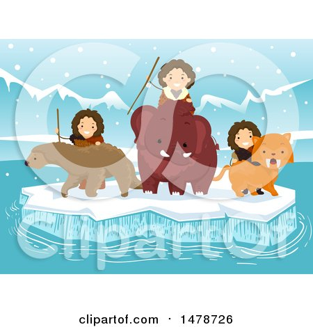 Clipart of a Group of Ice Age Kids with a Ground Sloth, Saber Tooth Tiger and Woolly Mammoth - Royalty Free Vector Illustration by BNP Design Studio
