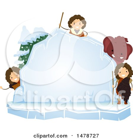 Clipart of a Group of Ice Age Kids with a Woolly Mammoth Around an Ice Board - Royalty Free Vector Illustration by BNP Design Studio