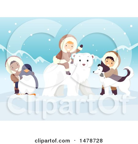 Clipart of a Group of Arctic Kids with a Penguin, Polar Bear and Husky Dog - Royalty Free Vector Illustration by BNP Design Studio