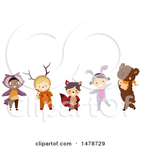 Clipart of a Group of Kids in Forest Animal Costumes - Royalty Free Vector Illustration by BNP Design Studio