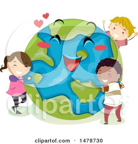 Clipart of a Group of Children Hugging a Happy Planet Earth - Royalty Free Vector Illustration by BNP Design Studio