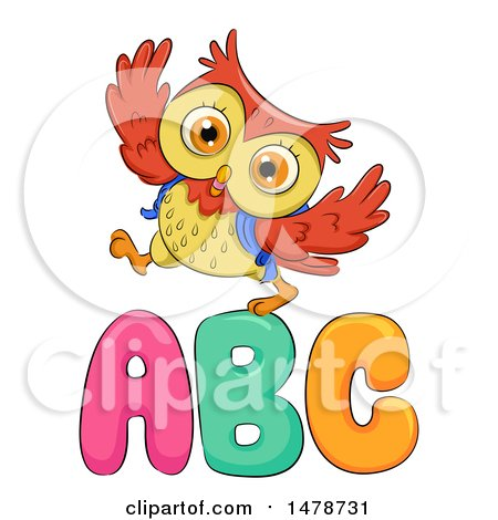 Clipart of a Cute Owl Walking over ABC Letters - Royalty Free Vector Illustration by BNP Design Studio