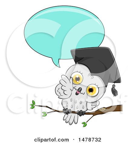 Clipart of a Cute Professor Owl Talking - Royalty Free Vector Illustration by BNP Design Studio