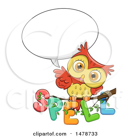 Clipart of a Cute Owl Talking over Spell Text on a Branch - Royalty Free Vector Illustration by BNP Design Studio