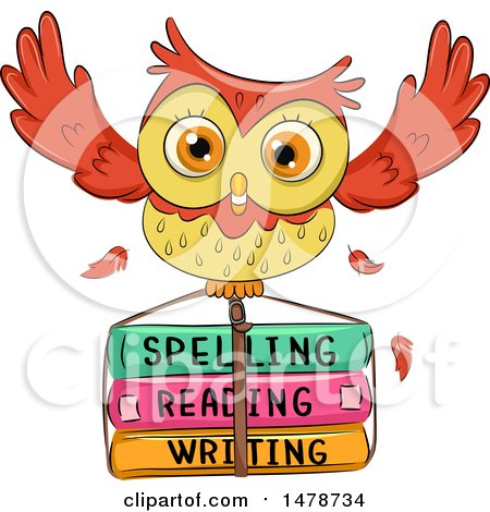 Clipart of a Cute Owl Flying with School Books - Royalty Free Vector Illustration by BNP Design Studio