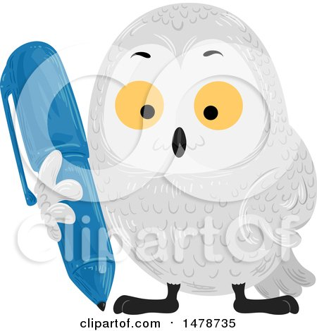 Clipart of a Snow Owl Holding a Pen - Royalty Free Vector Illustration by BNP Design Studio