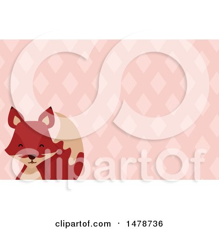 Clipart of a Fox Head over a Diamond Pattern - Royalty Free Vector Illustration by BNP Design Studio