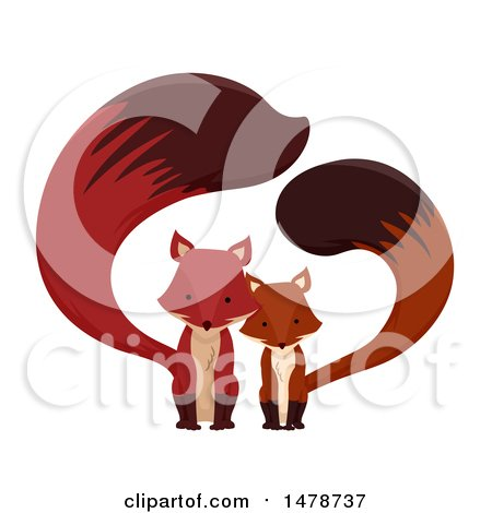 Clipart of a Cute Fox Couple - Royalty Free Vector Illustration by BNP Design Studio