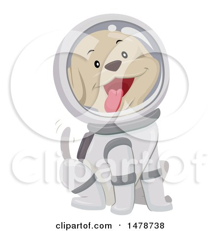 Clipart of a Happy Dog Astronaut Wagging His Tail - Royalty Free Vector Illustration by BNP Design Studio
