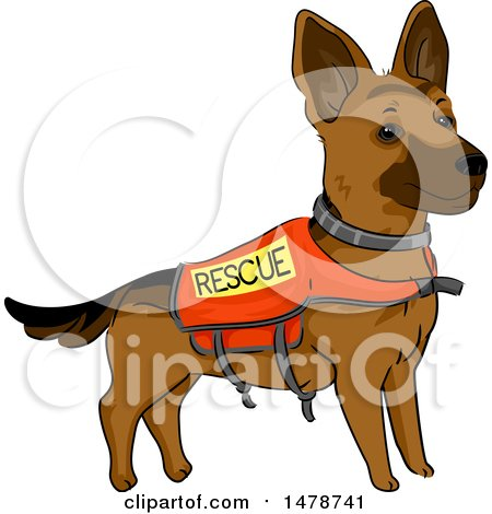 Clipart of a German Shepherd Dog Wearing a Rescue Vest - Royalty Free Vector Illustration by BNP Design Studio