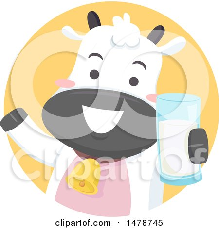Clipart of a Cute Dairy Cow Holding a Glass of Milk - Royalty Free Vector Illustration by BNP Design Studio
