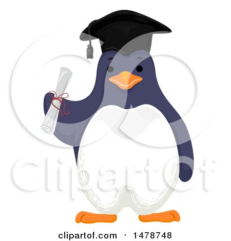 Clipart of a Graduate Penguin Holding a Diploma - Royalty Free Vector Illustration by BNP Design Studio