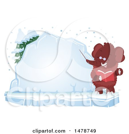 Clipart of a Woolly Mammoth Teacher by an Ice Board - Royalty Free Vector Illustration by BNP Design Studio