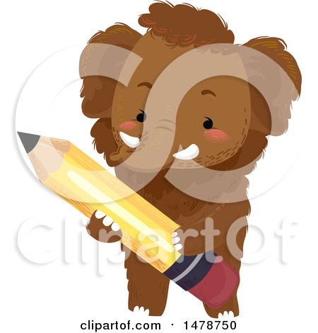 Clipart of a Cute Woolly Mammoth Holding a Pencil - Royalty Free Vector Illustration by BNP Design Studio