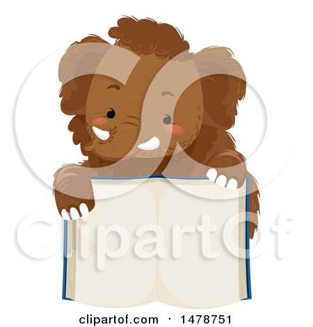 Clipart of a Cute Woolly Mammoth over an Open Book - Royalty Free Vector Illustration by BNP Design Studio