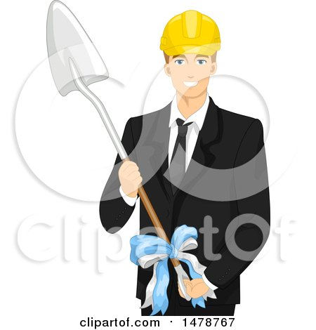 Clipart of a Business Man Holding a Shovel for a Ground Breaking Event - Royalty Free Vector Illustration by BNP Design Studio
