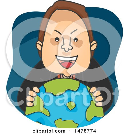 Clipart of a Man Grinning over a Globe - Royalty Free Vector Illustration by BNP Design Studio