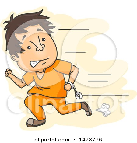 Clipart of a Male Prisoner Escaping and Running - Royalty Free Vector Illustration by BNP Design Studio