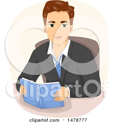 Clipart of a Young Business Man Reading at a Desk - Royalty Free Vector Illustration by BNP Design Studio
