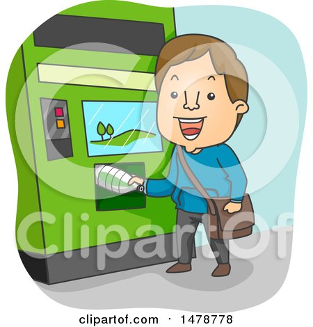Clipart of a Man Using a Recycling Machine - Royalty Free Vector Illustration by BNP Design Studio