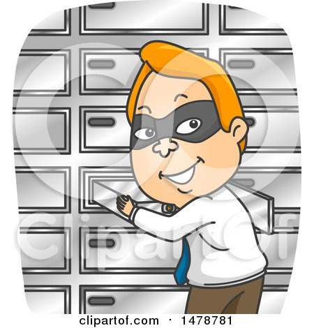 Clipart of a Masked Business Man Stealing a Safety Deposit Box - Royalty Free Vector Illustration by BNP Design Studio