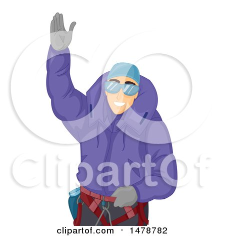 Clipart of a Mountaineering Man Waving - Royalty Free Vector Illustration by BNP Design Studio