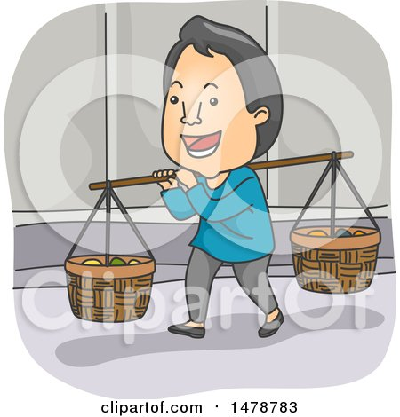 Clipart of a Happy Asian Peddler - Royalty Free Vector Illustration by BNP Design Studio