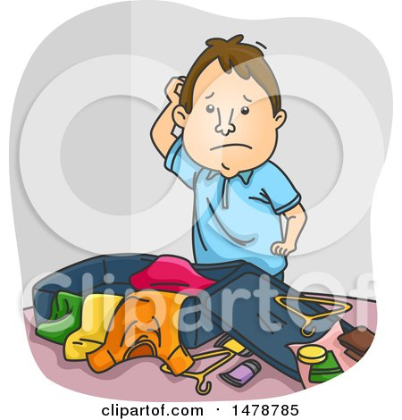 Clipart of a Disorganized Man Packing Luggage - Royalty Free Vector Illustration by BNP Design Studio