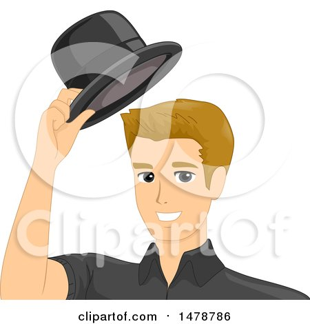 Clipart of a Man Taking off His Hat - Royalty Free Vector Illustration by BNP Design Studio