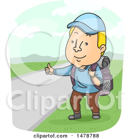 Clipart of a Man Hitch Hiking - Royalty Free Vector Illustration by BNP Design Studio