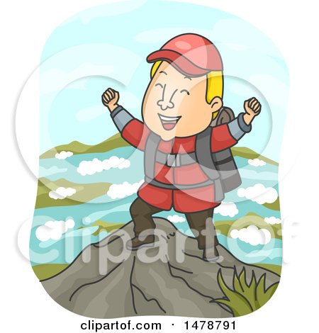 Clipart of a Male Hiker Cheering at the Top of a Mountain - Royalty Free Vector Illustration by BNP Design Studio