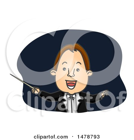Clipart of a Happy Orchestra Conductor - Royalty Free Vector Illustration by BNP Design Studio