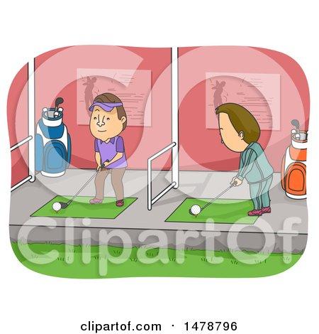Clipart of Men Golfing in a Driving Range - Royalty Free Vector Illustration by BNP Design Studio