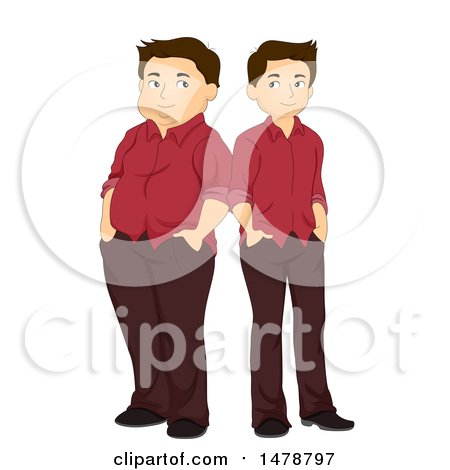 Clipart of a Man Shown Before and After Weight Loss - Royalty Free Vector Illustration by BNP Design Studio