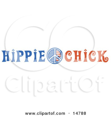 American Hippie Chick Sign Clipart Illustration by Andy Nortnik