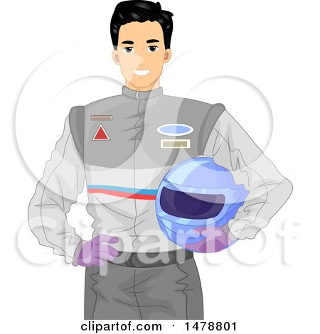 Clipart of a Male Racer Holding His Helmet - Royalty Free Vector Illustration by BNP Design Studio
