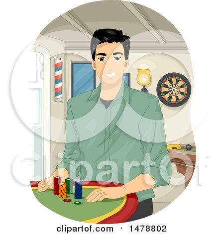Clipart of a Man Sitting at a Poker Table - Royalty Free Vector Illustration by BNP Design Studio