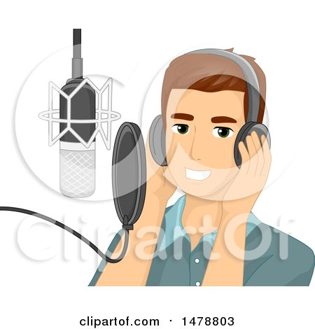Clipart of a Male Singer Performing a Song in a Studio - Royalty Free Vector Illustration by BNP Design Studio