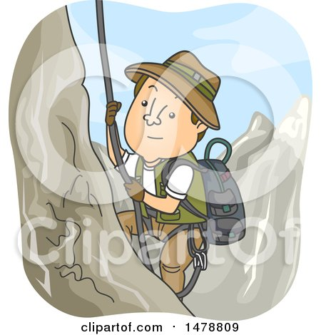 Clipart of a Male Explorer Climbing a Mountain - Royalty Free Vector Illustration by BNP Design Studio