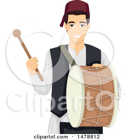 Clipart of a Muslim Man Playing a Drum for Ramadan Breakfast - Royalty Free Vector Illustration by BNP Design Studio
