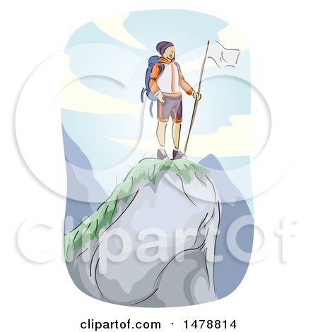 Clipart of a Sketched Mountain Climber at the Top - Royalty Free Vector Illustration by BNP Design Studio