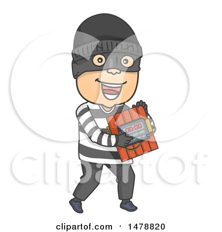 Clipart of a Bomber Carrying Dynamite - Royalty Free Vector Illustration by BNP Design Studio