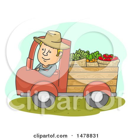 Clipart of a Happy Farmer Driving a Truck with Produce - Royalty Free Vector Illustration by BNP Design Studio
